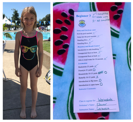 Swimming lesson card
